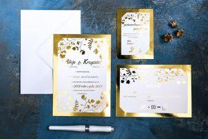 złote ślubne zaproszenie