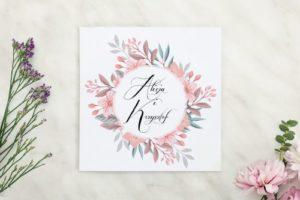 zaproszenie pudrowe kwiaty